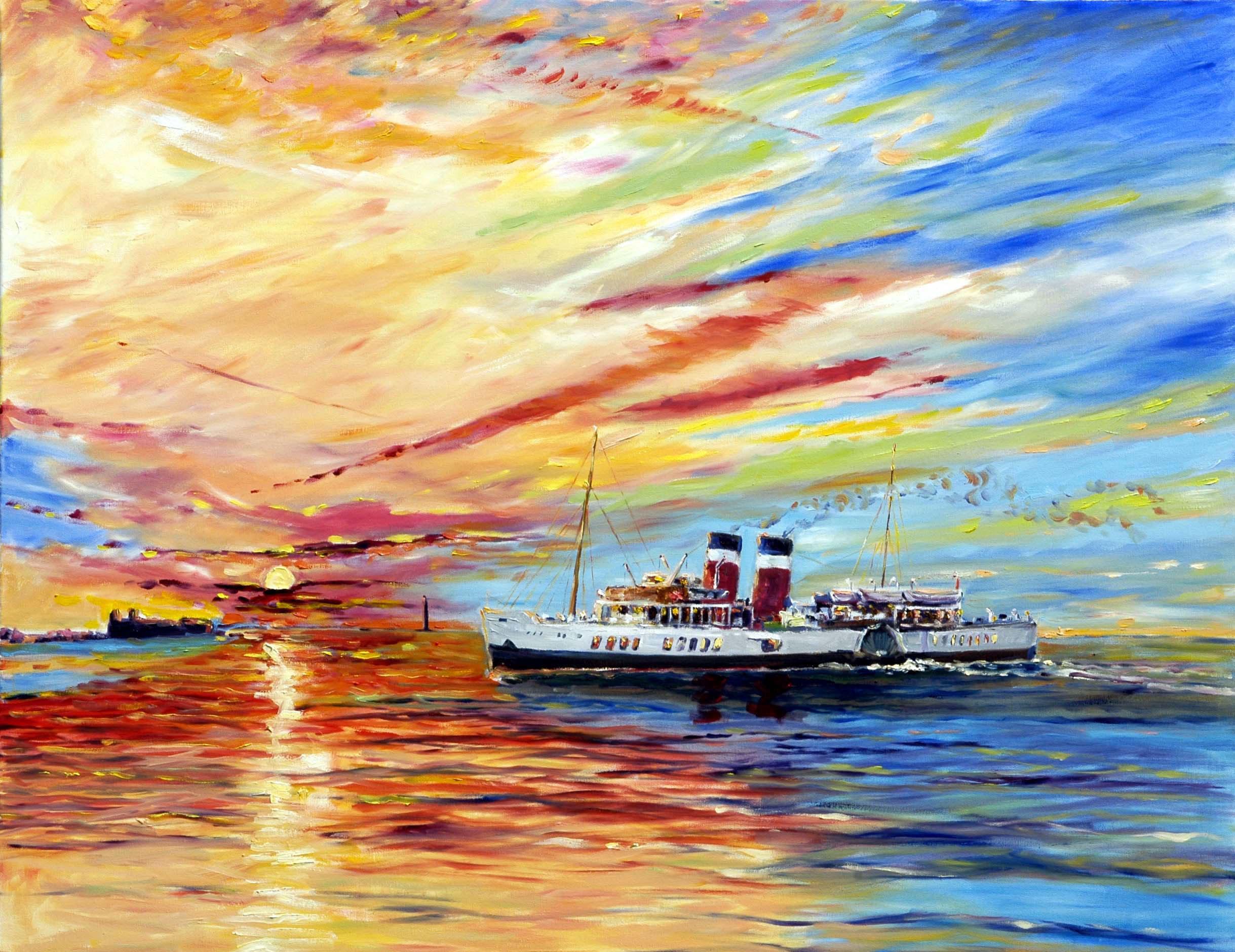 art classes, merseyside, southport, ss waverley entering river mersey, liverpool